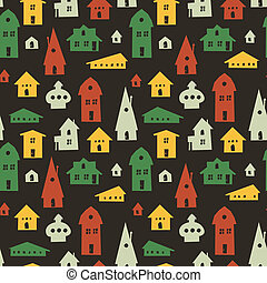 Different houses seamless pattern. Vector