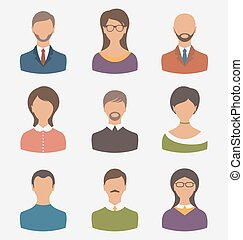 Different human icons isolated on white background