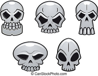 Different human skulls for halloween in cartoon style