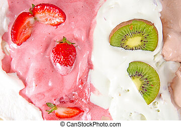 Different ice cream with fruits