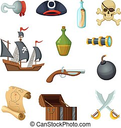 Different icon set of pirate theme. Skull, treasure map, battle ship of corsair and other objects in vector style