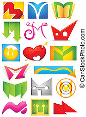 Different Icon with alphabet M - illustration of set of...