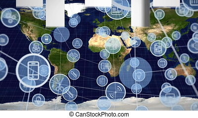 Digitally generated animation of circle applications icons interconnected and background shows map of the world.