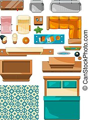 Different icons of furniture top view. Vector illustrations for create layout of apartment