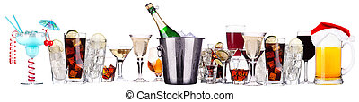 different images of alcohol - beer, martini, cola, champagne...