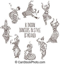 different Indian dancers
