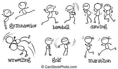 Different indoor and outdoor activities - Illustration of...