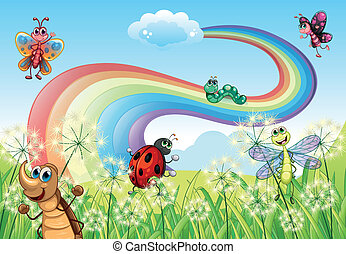 Different insects at the hilltop with a rainbow