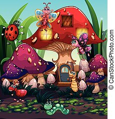 Different insects living in the mushroom house illustration