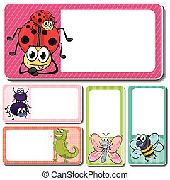 Different insects on square labels
