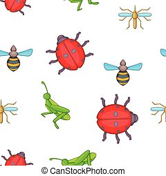 Different insects pattern, cartoon style