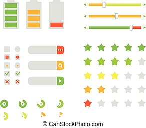 Different interface design elements. Flat design