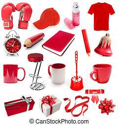 different isolated objects red color