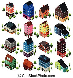 Different Isometric House Buildings