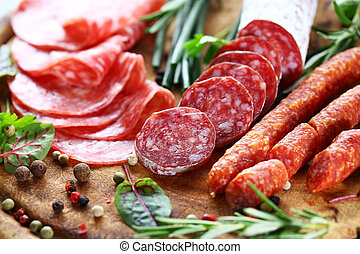 Italian ham and salami with herbs - Different Italian ham...