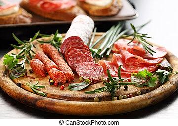 Italian ham and salami with herbs