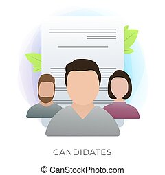 Different job search candidates flat vector icon with CV resumes on the background. Headhunter chooses and hiring the best employee. Recruitment and HR headhunting agency concept