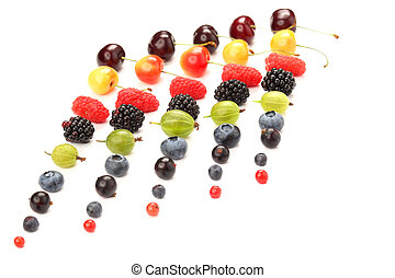 different juicy berries are laid out in rows on a white background