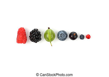 different juicy berries laid out in a row on white background