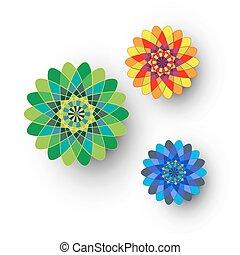 Different kaleidoscopic flowers
