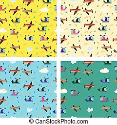 Different kids seamless vector pattern with airplanes and helicopters