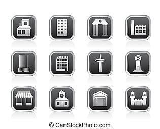 different kind of building icons