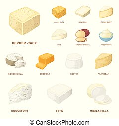 Different kind of cheese cartoon icons in set collection for design. Milk product cheese vector symbol stock web illustration.