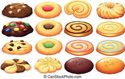 Different kind of cookies illustration