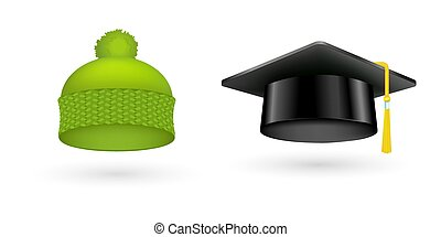 Different kind of fashion green hat modern graduation cap accessories clothes vector illustration