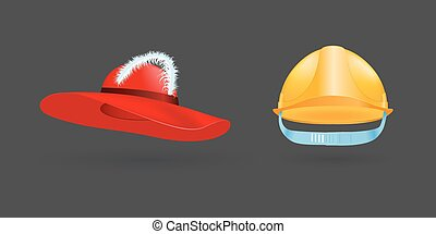 Different kind of fashion yellow hat modern elegance red cap accessories clothes vector illustration