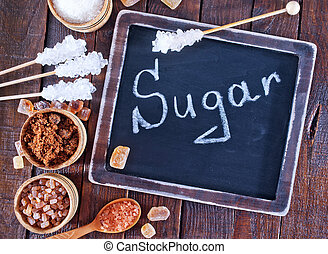 sugar - different kind of sugar, sugar on the wooden table