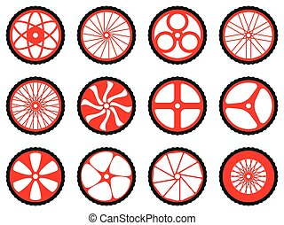 Different kinds of bike wheels.