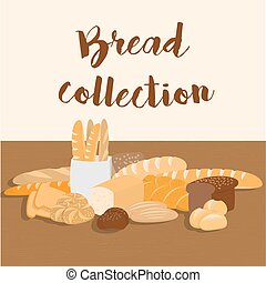 Different kinds of bread set for menu