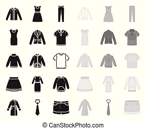 Different kinds of clothes black. mono icons in set collection for design. Clothes and style vector symbol stock web illustration.