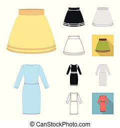 Different kinds of clothes cartoon, black, flat, monochrome, outline icons in set collection for design. Clothes and style vector symbol stock web illustration.