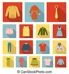 Different kinds of clothes flat icons in set collection for design. Clothes and style vector symbol stock web illustration.