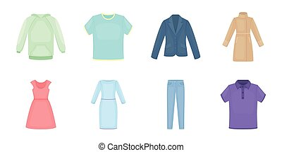 Different kinds of clothes icons in set collection for design. Clothes and style vector symbol stock web illustration.