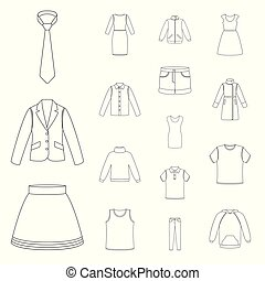 Different kinds of clothes outline icons in set collection for design. Clothes and style vector symbol stock web illustration.