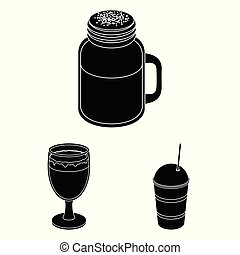 Different kinds of coffee black icons in set collection for...