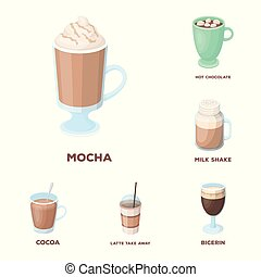 Different kinds of coffee cartoon icons in set collection...