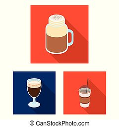 Different kinds of coffee flat icons in set collection for...