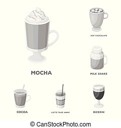 Different kinds of coffee monochrome icons in set collection...