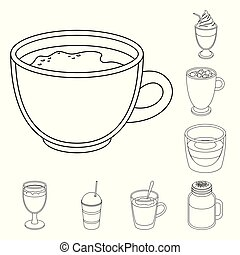 Different kinds of coffee outline icons in set collection...