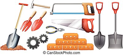 Different kinds of construction tools