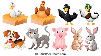 Different kinds of farm animals illustration