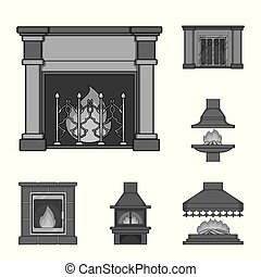 Different kinds of fireplaces monochrome icons in set collection for design. Fireplaces construction vector symbol stock web illustration.