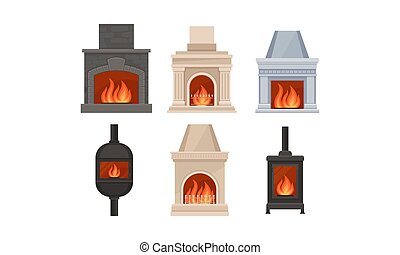 Different Kinds Of Fireplaces With Various Design Vector Illustration Set
