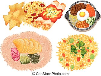 Different kinds of food on white background illustration