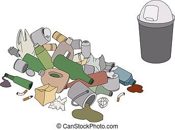 Different kinds of garbage and rubb
