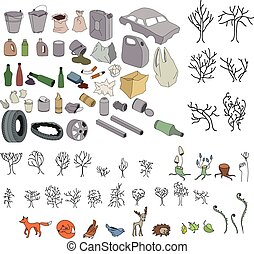 Different kinds of garbage in forests and wildlife isolated...